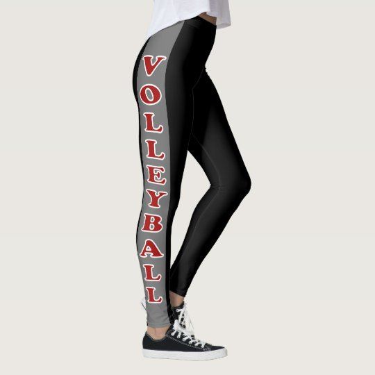Black and Gray Stripe with Dark Red Volleyball Leggings