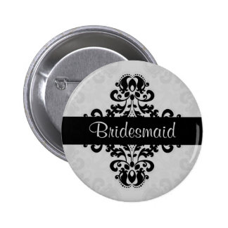 Black and gray victorian damask bridesmaid wedding 2 inch round button