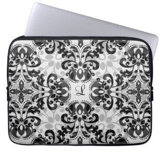 Black and gray victorian damask decor 13 inch laptop sleeve