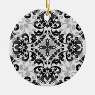 Black and gray victorian damask decor ceramic ornament