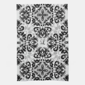 Black and gray victorian damask decor kitchen towel