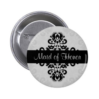 Black and gray victorian damask maid of honor 2 inch round button
