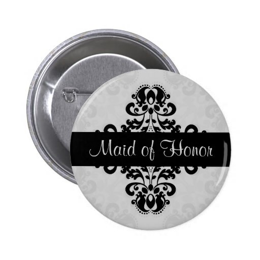 Black and gray victorian damask maid of honor pinback buttons