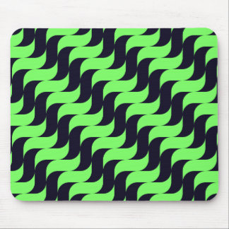 Black and Green Cascading Wave Mouse Pad