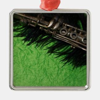 Black and Green Clarinet Silver-Colored Square Ornament