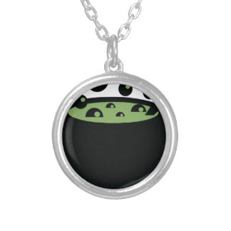 Black and Green Cooking Pot Silver Plated Necklace