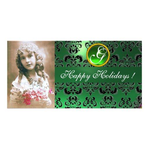 BLACK AND GREEN  DAMASK Emerald Monogram Photo Cards