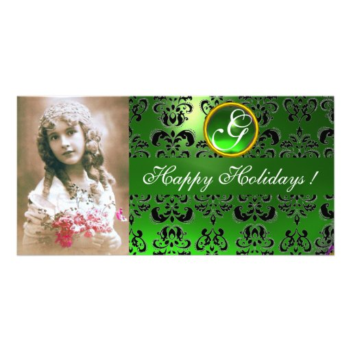 BLACK AND GREEN  DAMASK Emerald Monogram Photo Card Template