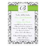 Black and Green Damask Invitation