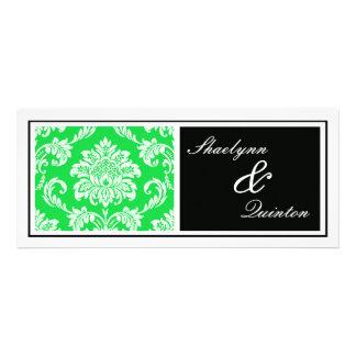Black and Green Damask Wedding Invitation
