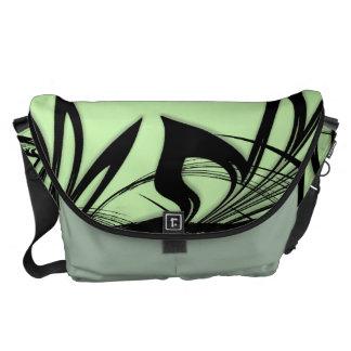 Black and Green Fern Glen Courier Bag