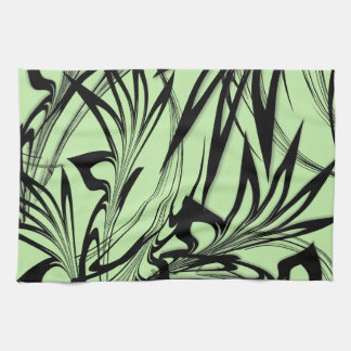 Black and Green Fern Glen Kitchen Towel