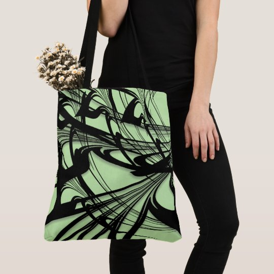 Black and Green Fern Glen Tote Bag