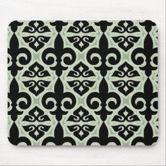 Black and Green Fleur De Lis Pattern Mouse Pad