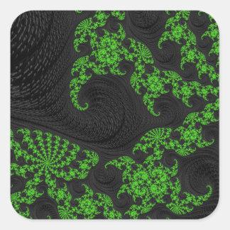 Black and Green Fractal Art Square Sticker