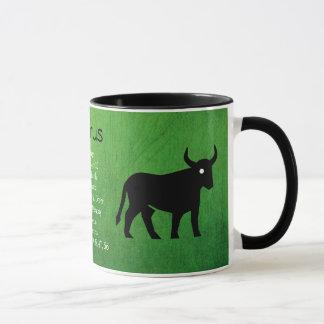 Black and Green Horoscope Taurus Sign Coffee Mug