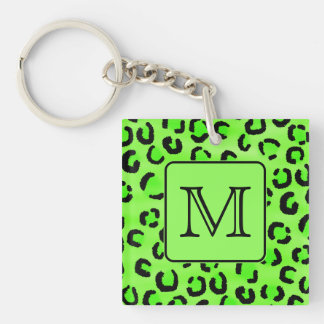 Black and Green Leopard Print. Custom Monogram. Keychain