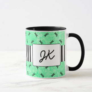 Black and Green Monogrammed Dragonflies Coffee Mug