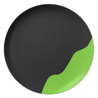 Black and green party plate