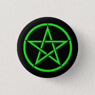 Black and Green Pentacle Pentagram Button Badge