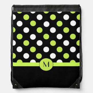 Black and Green Polka Dot Monogram Backpack