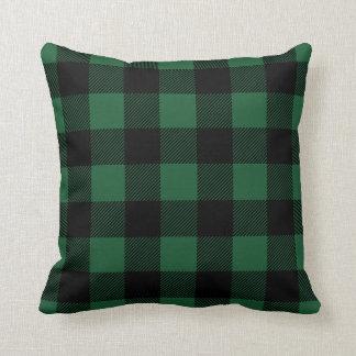 Black and Green Preppy Buffalo Check Plaid Throw Pillow
