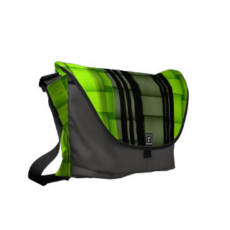 Black and green stripes graphic design commuter bag
