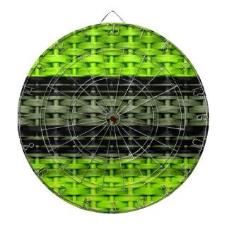 Black and green wicker art graphic design dart board