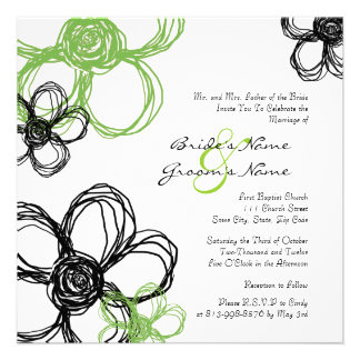 Black and Green Wild Flowers Wedding Invitation