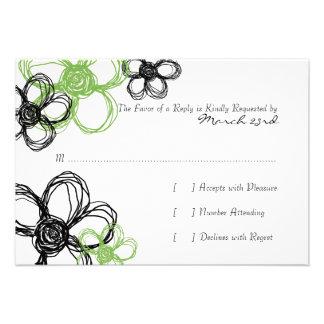 Black and Green Wild Flowers Wedding RSVP Custom Invitation