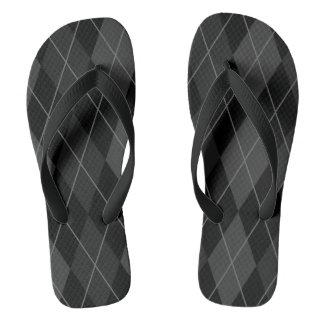 Black and Grey Argyle Flip Flops
