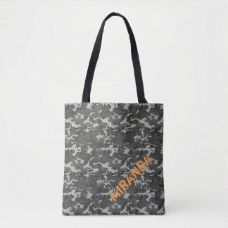 Black and Grey Camouflage Tote with Name