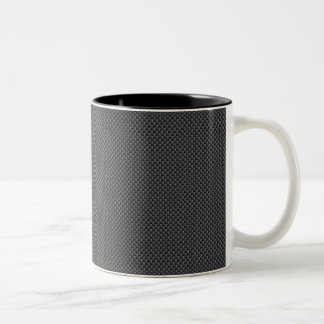 Black and Grey Carbon Fiber Polymer Two-Tone Coffee Mug