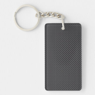 Black and Grey Carbon Fibre Polymer Keychain