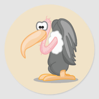 Black and Grey Cartoon Buzzard Classic Round Sticker