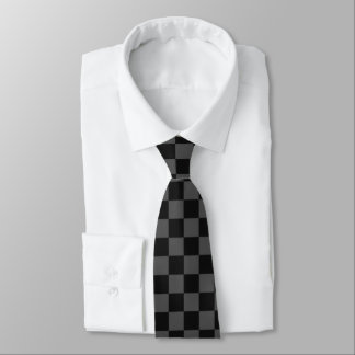 Black and Grey Checkered Neck Tie