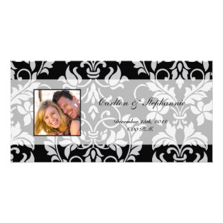 Black and Grey Damask Wedding Photo Announcement Photo Cards