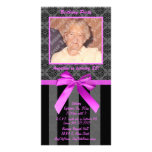 Black And Grey Damask With Hot Pink Ribbon Customized Photo Card