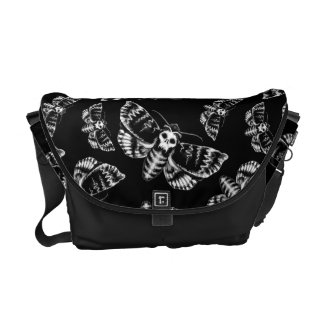 Black and Grey Deaths Head Hawk Moth Gothic Skull Commuter Bags