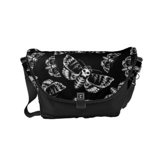 Black and Grey Deaths Head Hawk Moth Gothic Skull Courier Bag