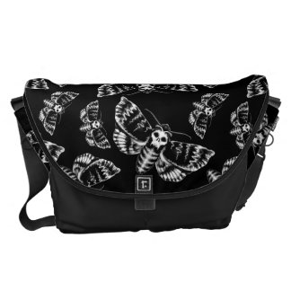 Black and Grey Deaths Head Hawk Moth Gothic Skull Courier Bags
