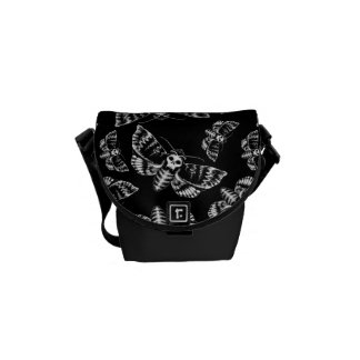 Black and Grey Deaths Head Hawk Moth Gothic Skull Messenger Bags