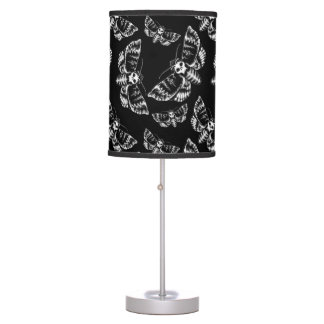 Black and Grey Deaths Head Hawk Moth Gothic Skull Table Lamp