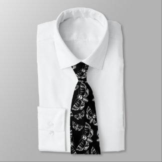 Black and Grey Deaths Head Hawk Moth Skull Pattern Tie