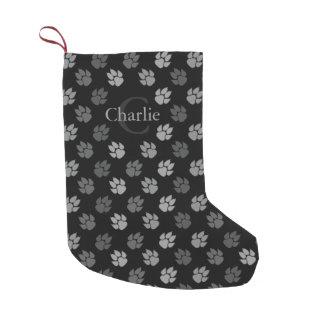 Black And Grey Dog Paws With Monogram And Name Small Christmas Stocking