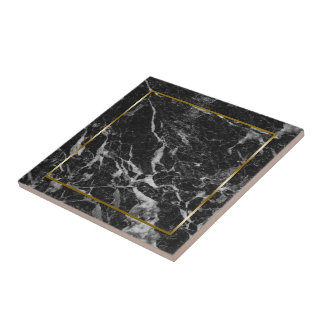 Black and grey faux marble stone tile