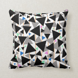 Black And Grey Geometric Triangle Throw Pillow