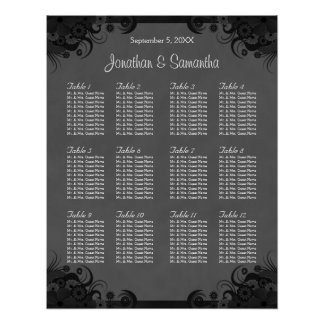Black and Grey Goth Wedding 12 Table Seating Chart Poster