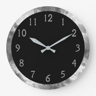 Black and Grey Marble Large Clock