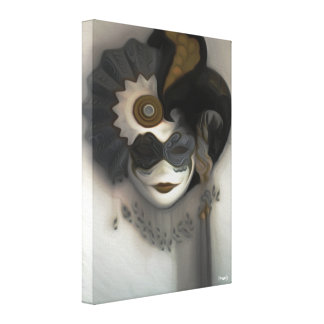 Black and Grey Masquerade Hanging - Mask Art Print